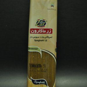 اسپاگتی قطر 1/5 سبوس دار محصول زر ماکارون