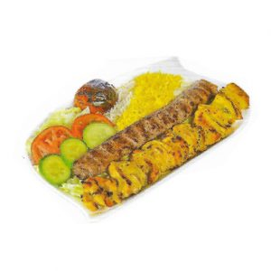 Vaziri Kebab Chicken Kebob & Minced Beef With Rice & Salad
